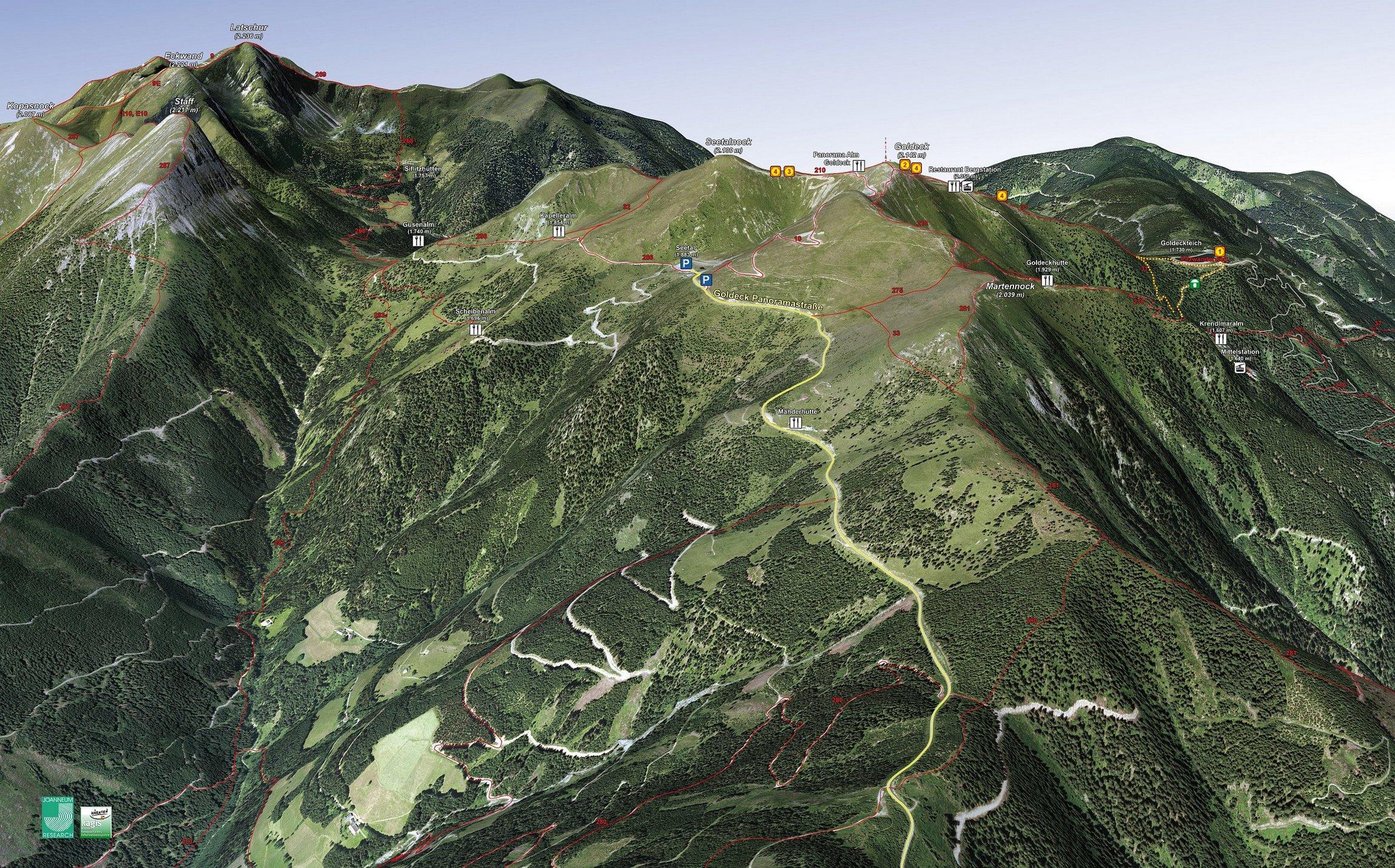 Wanderkarte Goldeck - Ansicht Seetal